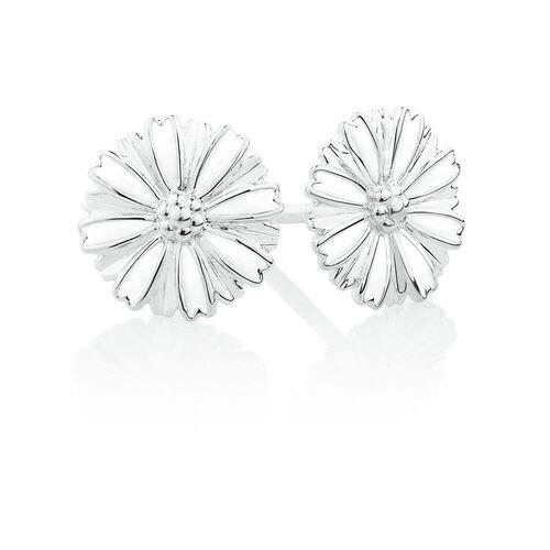 Flower Stud Earrings with White Enamel in Sterling Silver