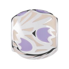 Sterling Silver & Yellow & Purple Enamel Floral Charm