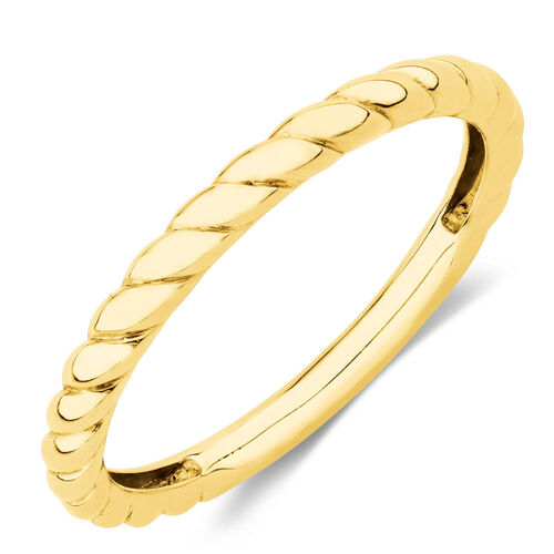 Twist Patterned Stacker Ring in 10ct Yellow Gold