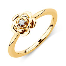 Diamond Set Flower Stacker Ring in 10ct Yellow Gold
