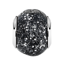 Black Sparkle Murano Glass Charm