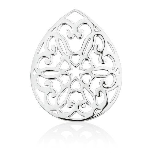 Heart Patterned Coin Locket Insert in Sterling Silver