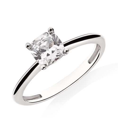 Cushion Cut Solitaire Ring with Cubic Zirconia in 10ct White Gold