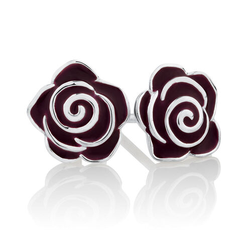 Rose Stud Earrings with Maroon Enamel in Sterling Silver