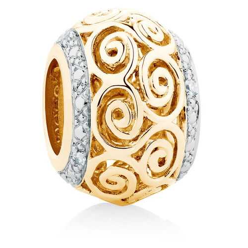 Diamond Set Swirl Charm in 10ct Yellow Gold