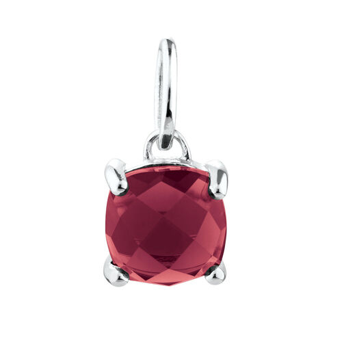 Mini Pendant with Burgundy Crystal in Sterling Silver
