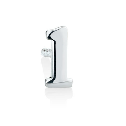 """L"" Initial Stud Earring in Sterling Silver"