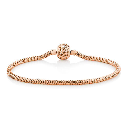 "19cm (7.5"") Charm Bracelet with Diamonds in 10ct Rose Gold"