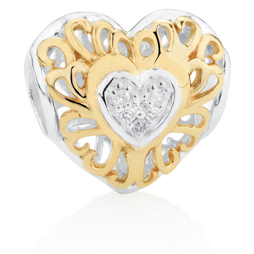 Diamond Set Heart Charm in 10ct Yellow Gold & Sterling Silver