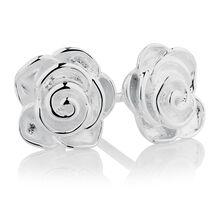 Sterling Silver Rose Stud Earrings