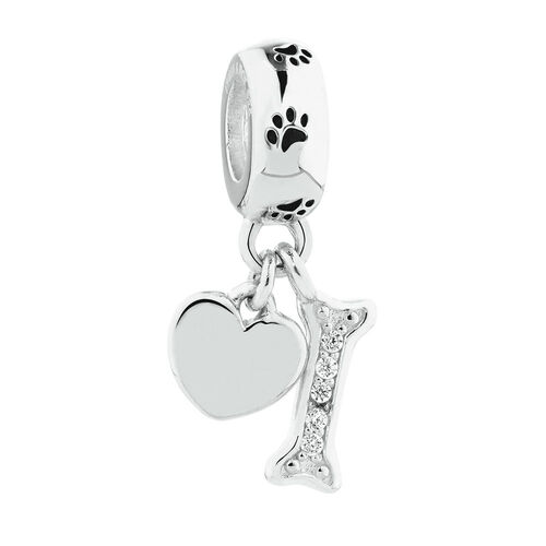 Heart & Dog Bone Dangle Charm with Cubic Zirconia in Sterling Silver