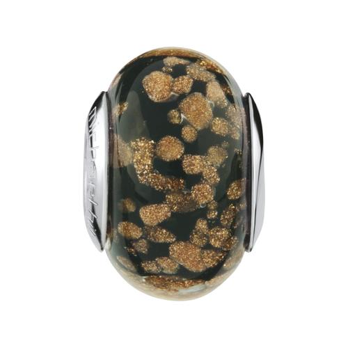 Black & Gold Sparkle Murano Glass Charm