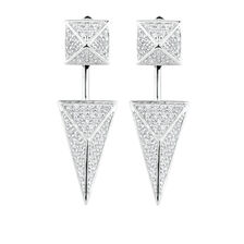 Geometric Stud Earrings & Earrings Enhancer Set with Cubic Zirconia in Sterling Silver