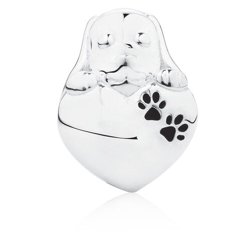 Puppy Heart Charm in Sterling Silver