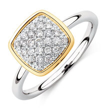 Cushion Stacker Ring with 1/4 Carat TW of Diamonds in Sterling Silver & 10ct Yellow Gold