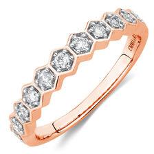 1/4 Carat TW Diamond Honeycomb Stacker Ring in 10ct Rose Gold