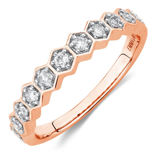 1/4 Carat TW Diamond Honeycomb Stacker Ring in 10ct Rose Gold