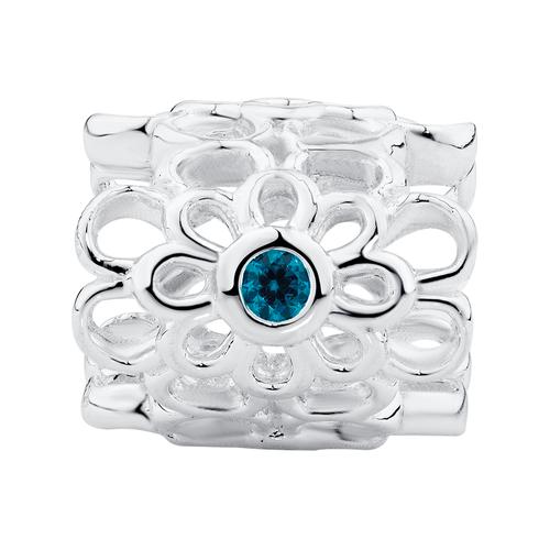 Aqua Cubic Zirconia & Sterling Silver Wild Hearts Mini Sleeve