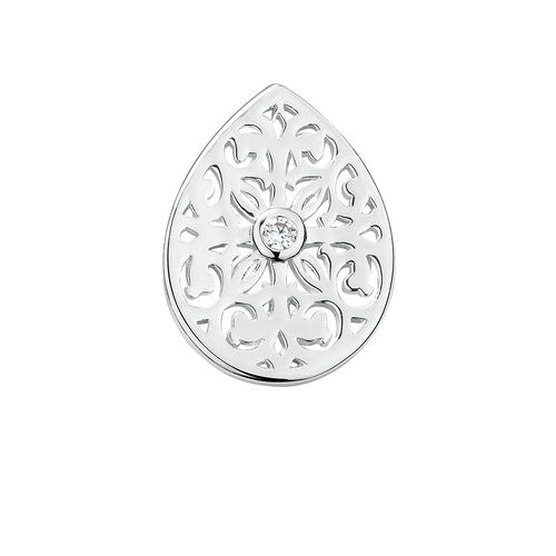 Filigree Mini Coin Locket Insert with Cubic Zirconia in Sterling Silver