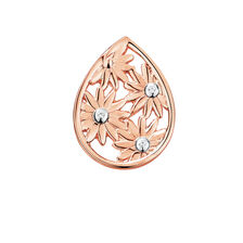 Diamond Set Daisy Mini Coin Locket in 10ct Rose Gold