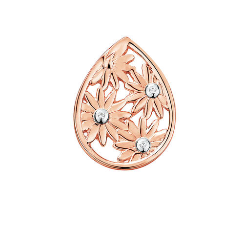 Diamond Set Daisy Mini Coin Locket Insert in 10ct Rose Gold