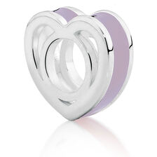 Sterling Silver & Purple Enamel Heart Charm