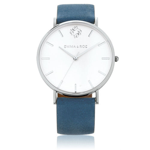 Large Watch in Blue Leather & Stainless Steel