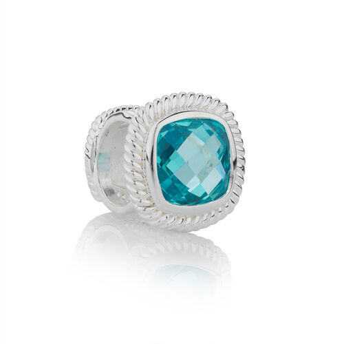 Online Exclusive - Wild Hearts Charm with Blue Cubic Zirconia in Sterling Silver