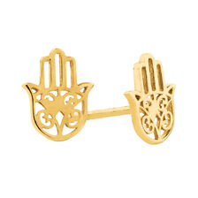 Hamsa Hand Stud Earrings in 10ct Yellow Gold