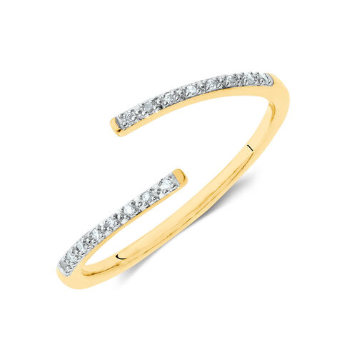 Diamond Set Spiral Ring in 10ct Yellow Gold