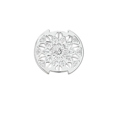 Aztec Pattern Mini Coin Locket Insert with Cubic Zirconia in Sterling Silver