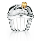 10ct Yellow Gold & Sterling Silver  Cupcake Charm