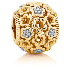 Diamond Set 10ct Yellow Gold Lace Filigree Flower Charm