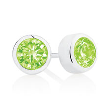 August Stud Earrings with Light Green Cubic Zirconia in Sterling Silver