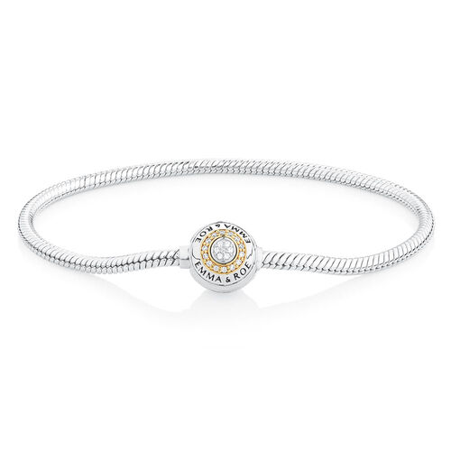 """21cm (8.5"""") Charm Bracelet with Cubic Zirconia in Sterling Silver & 10ct Yellow Gold"""