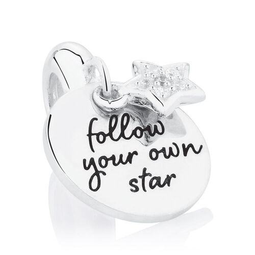Follow Your Own Star' Dangle Charm with Cubic Zirconia in Sterling Silver