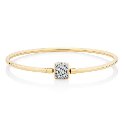 "21cm (8.5"") Charm Bangle with 1/4 Carat TW of Diamonds in 10ct Yellow Gold"