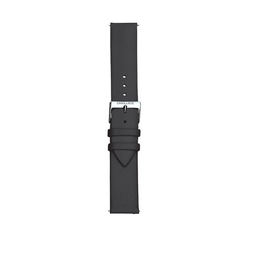 Black Leather Watch Strap with Stainless Steel