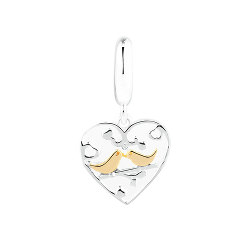 Kissing Doves Dangle Charm in Sterling Silver & 10ct Yellow Gold
