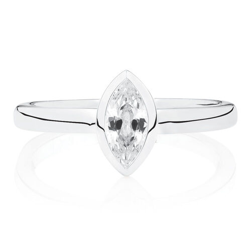 Marquee Stacker Ring with White Cubic Zirconia in Sterling Silver