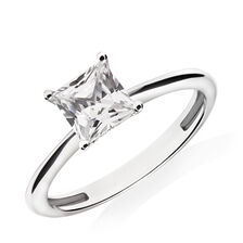 Princess Cut Solitaire Ring with Cubic Zirconia in 10ct White Gold