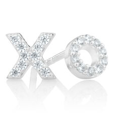 """XO"" Stud Earrings with Cubic Zirconia in Sterling Silver"