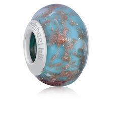 Blue & Gold Sparkle Murano Glass Charm