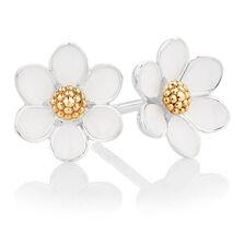 White Enamel, Sterling Silver & 10ct Yellow Gold Daisy Stud Earrings