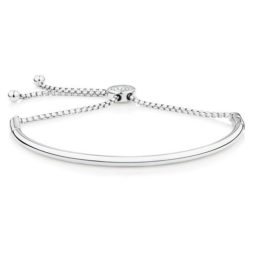 Adjustable Charm Bangle in Sterling Silver