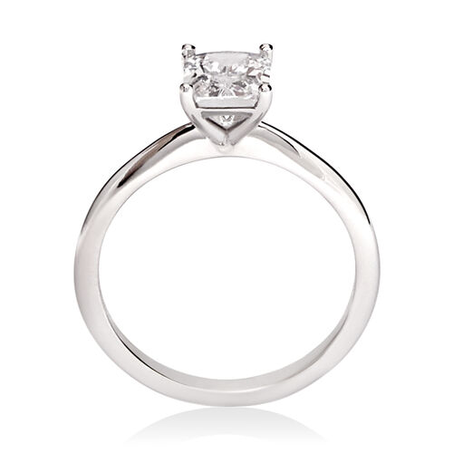 Emerald Cut Solitaire Ring with Cubic Zirconia in 10ct White Gold