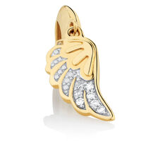 Diamond Set Angel Wing Dangle Charm in 10ct Yellow Gold