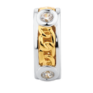 Cubic Zirconia, 10ct Yellow Gold & Sterling Silver Twist Charm