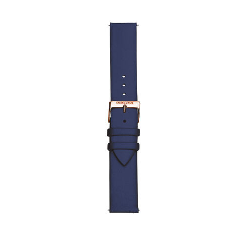 Large Watch Strap in Navy Leather & Rose Tone Stainless Steel