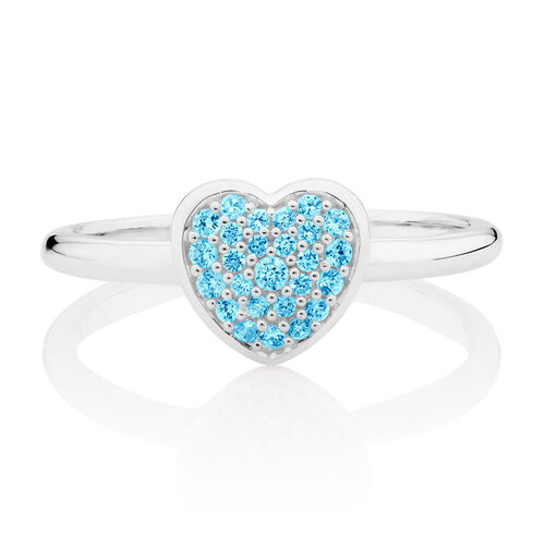 Aqua Cubic Zirconia Heart Ring